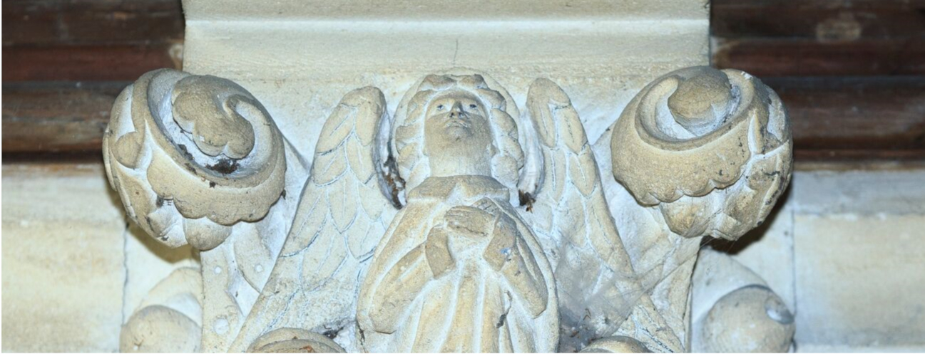 detail of an angel carving