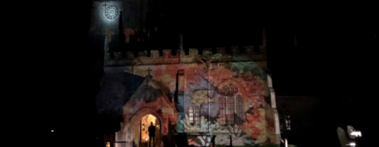 St James Avebury illuminated as part of an art project